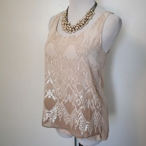 EXPRESS Size Small Beige Blush Blouse Sequins